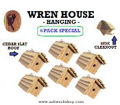 Wren House 6 PACK Slat Roof
