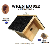 Wren House Black Roof hanging