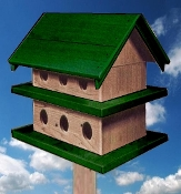 Purple Martin House - Dark Green & Natural Cedar