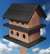 Purple Martin House - Dark Gray & Natural Cedar
